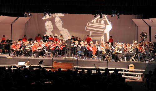 About 75 Saucon Valley alumni return to school for a special surprise performance at the 2012 Pops Concert for the retiring band director, Kevin O'Connell and chorus director, Dennis Smith, on Thursday.