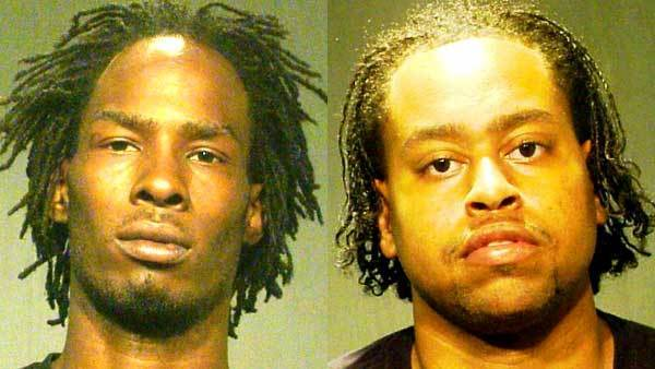 Booking photos of Terrance Conway, left, and Tiquell Harris.