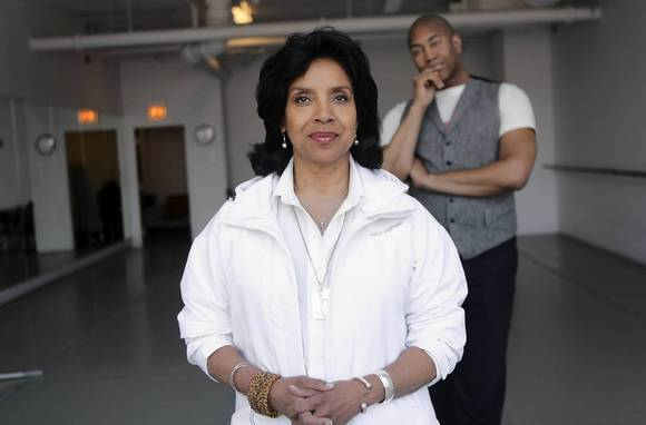 Director Phylicia Rashad and writer Paul Oakley Stovall in a dance studio at School of Ballet Chicago.