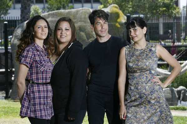 Aixa Vilar, Betty Cisneros, Phil Buckman, and Nicolette Vilar, the members of the band Go Betty Go in Los Angeles. The band formed at Glendale High School in 1999, and have recently reunited and will perform next week at Universal CityWalk.