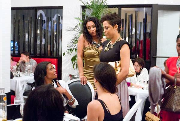 "Shaunie O'Neal, center right, ex-wife of former basketball star Shaquille O'Neal, stars in and executive produces ""Basketball Wives."" At center left is Tami Roman."