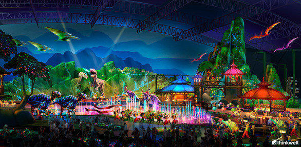 """The Dream Begins"" nighttime spectacular at Jurassic Dream"