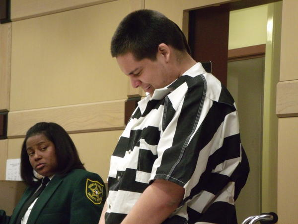 Michael Stone, 18, sobs as he apologizes to the family of Kevin Cardoza and asks Broward Judge Carlos Rebollo for mercy. Stone pleaded no contest to third-degree murder in causing Cardoza's death by driving into a canal after the pair burglarized Mack's Fish Camp in west Broward.