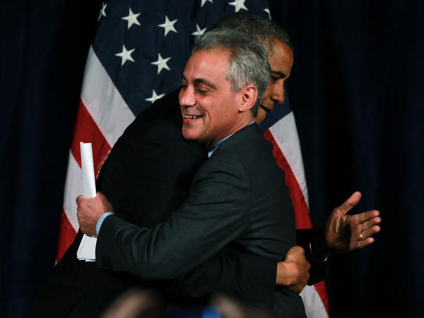 Chicago Mayor Rahm Emanuel welcomes President Barack Obama at a fundraiser in the Chicago Cultural Center.