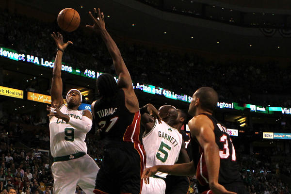 Rajon Rondo (9) of the Boston Celtics drives for a shot attempt in the first quarter against Ronny Turiaf (21) of the Miami Heat in Game Three of the Eastern Conference Finals in the 2012 NBA Playoffs on June 1.