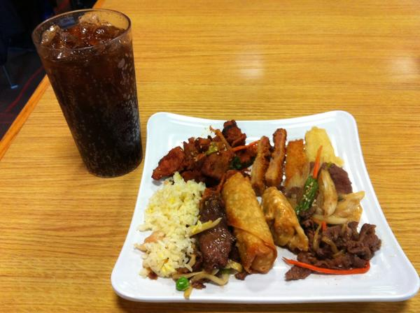 Kogi Asian Buffet charges $12.99 a plate at lunch, with dishes that include (clockwise from top) chicken katsu, potato tempura, beef bulgogi, gyoza potstickers, vegetable egg rolls, chicken fried rice, Mongolian beef and daeji (spicy) pork bulgogi. Fountain drinks are $1.50 apiece.