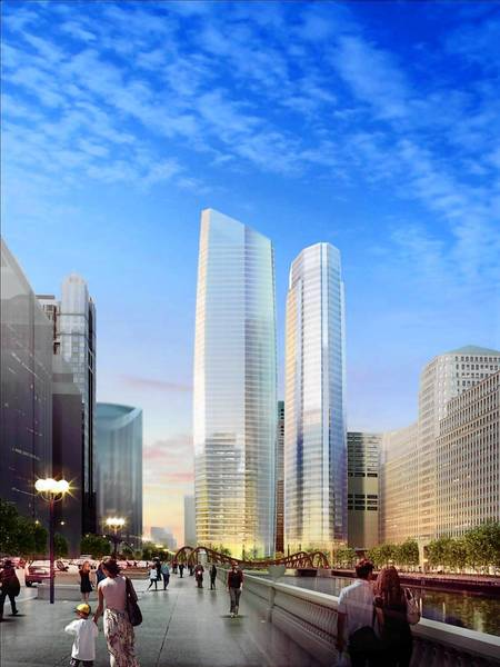 An architect's rendering shows the two office towers in the Wolf Point proposal. The view is looking west on the east-west leg of Wacker Drive.