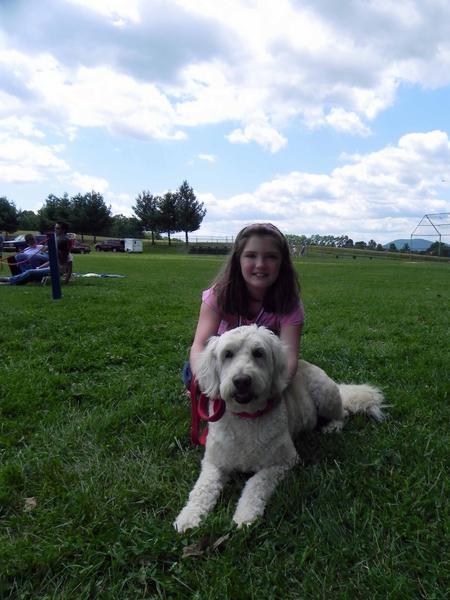 Ten-year-old Lizzie Hooper of Mercersburg, Pa., with her dog, Daisey, won Best Youth Handler at Saturday's Fun Dog Show.