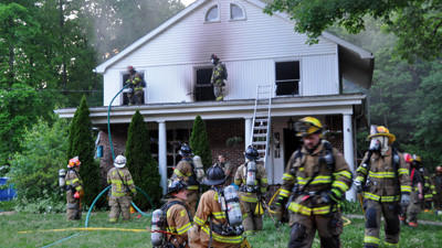 No one was home Saturday when a house at 2768 Penn Avenue in Hollsopple went up in flames.