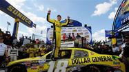 Joey Logano passed Ryan Truex with a few laps left on Saturday to win the Nationwide Series race at Dover International Speedway.