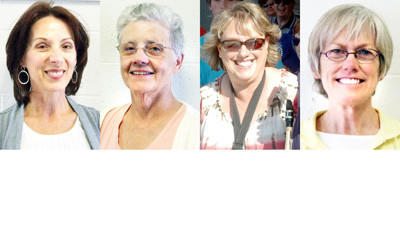Retiring from Charlevoix Middle School this June are (from left) Kay Wasilewski, Judy Clock, Jayne Bennett-Winchester, and Helen Donahue