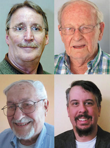 Top, left to right, Gregg Wachtel, Donald T. Anderson, and bottom, left to right, C. William Hayes and Kevin Santana are candidates for two open Martinsburg City Council seats.