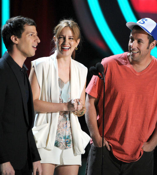 2012 MTV Movie Awards best and worst moments: Not that any of the presenters banter was stellar in the first half of the show, but Just My Boy stars Adam Sandler, Andy Samberg and Leighton Meester really landed with a splat. After Sandler described making out with a stripper and Samberg said he french-kissed his dogs butt, they then called Meester a whore for her sweet (and presumably fake) prom story. Yeech.  -- Rick Porter, Zap2it