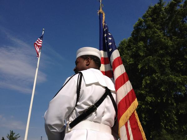 Petty officer Leroy Curtis waits for the start of ceremonies marking the 70th anniversary of the Battle of Midway Monday at Naval Station Norfolk.