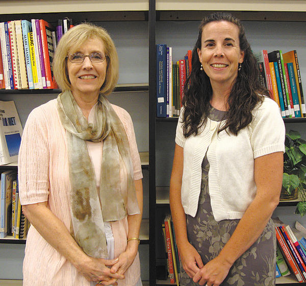 Barbara Gift, left, and Helen Huffer were honored for their work in the Smithsburg Middle School counseling center.