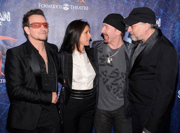 Bono, director Julie Taymor, The Edge and director Philip William McKinley attend 'Spider-Man Turn Off The Dark' Broadway opening night at Foxwoods Theatre on June 14, 2011 in New York City.