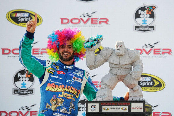 Jimmie Johnson, driver of the #48 Lowe's Madagascar Chevrolet, celebrates in Victory Lane after winning the NASCAR Sprint Cup Series FedEx 400 benefiting Autism Speaks at Dover International Speedway on June 3, 2012 in Dover, Delaware.