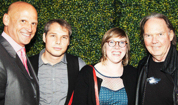 Perry Rubenstein, Shepard Fairey, Amber Young and Neil Young at Saturday's party at the new Perry Rubenstein Gallery in L.A.