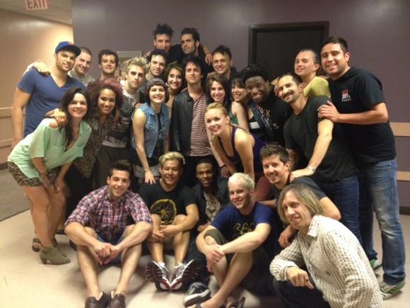 "The cast of ""American Idiot"" with Billie Joe Armstrong, center, after a show at the Segerstrom Center for the Arts in Costa Mesa."
