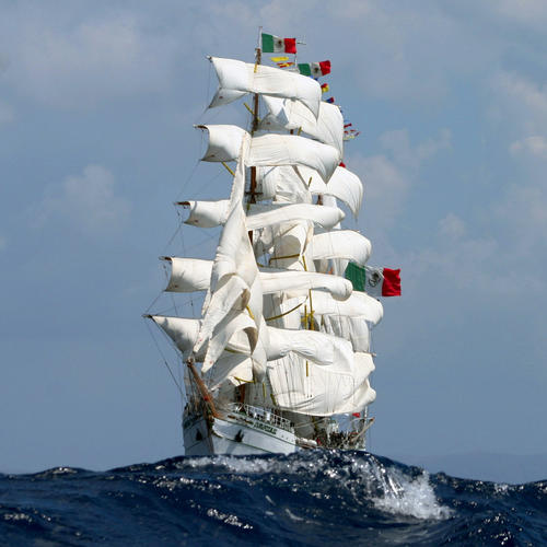 The 270-foot long barque, Cuauhtemoc was built in 1982 for the Mexican Navy in the Celaya shipyards in Bilbao, Spain. She was the last of four windjammers built by Bilbaol shipyards for Latin American nations.