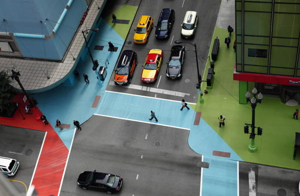 """Jessica Stockholder's public art installation """"Color Jam"""" at the intersection of Adams and State streets."""