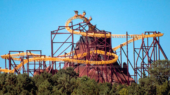 Volcano: The Blast at Virginia's Kings Dominion, a 1998 Intamin inverted launch coaster, holds the record for tallest inversion for its distinctive 155-foot-tall roll out element.