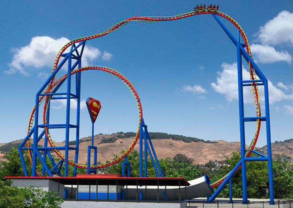 The vertical layout of the 863-foot-long track allows Superman Ultimate Flight at Six Flags Great Adventure to sit on an extremely compact footprint.