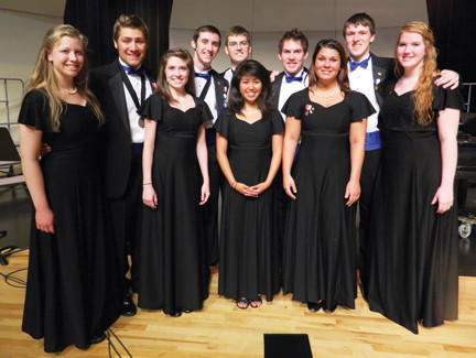 The Waynesboro (Pa.) Area Senior High School students who were chosen for national ensembles in choir and band are shown from left, front row, Rebecca Reed, Dani Bautista and Maureen Bradley. Back row, Emily Johnson, Brad Barkdoll, Mat Levine, Zac Arestad, Zach Roth, Andrew Payne and Missy Ecker.