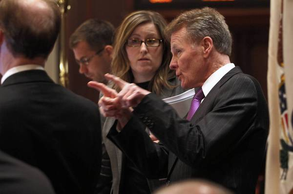 "Republicans charged that House Speaker Michael Madigan, right, added the cost-shifting proposal to the pension reform package as a ""poison pill."""