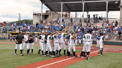North Star players swarm the Pullman Park field following the Cougars' 2-0 victory over Ellwood City in a first-round PIAA Class AA baseball playoff game Monday.