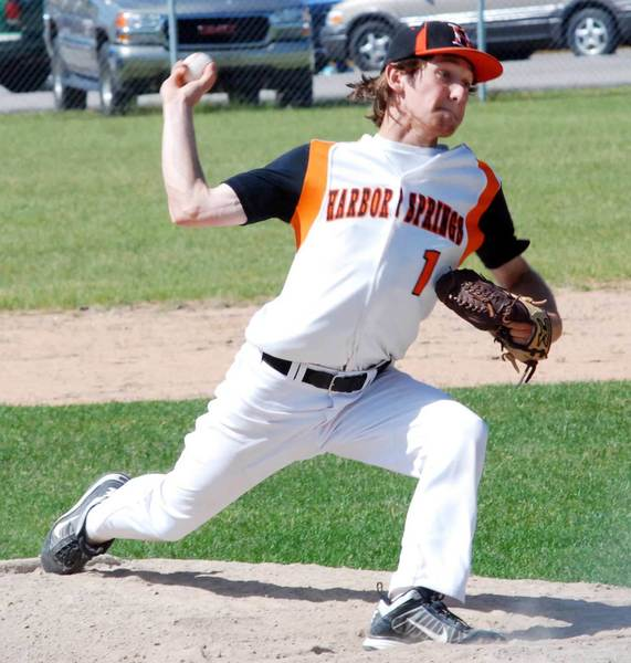 Scott Morse of Harbor Springs delivers to the plate Monday during his 5-0 no-hitter in a Division III district semifinal against Boyne City at East Jordan High School.
