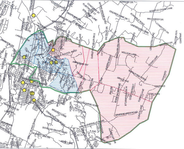 According to this map provided by the Berkeley County Board of Education, students in the red shaded area will attend the new Spring Mills Middle School, while most of those in the blue shaded area will attend Hedgesville High School.