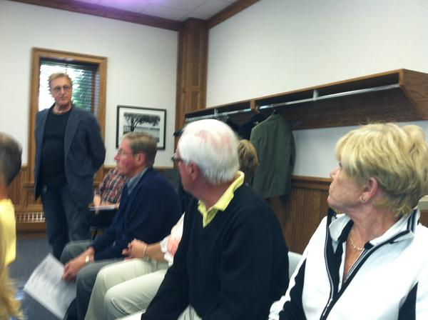 Chief of Police Dan Branson (from left) addresses Bernard Vanantwerp, Deanna Vanantwerp, Fritz Mayhew and Patty Mayhew, residents of Summit St. in Harbor Springs during Monday's city council meeting. A pitbull attacked the Vanantwerps' golden retriever, and the residents came to Monday's city council meeting to cite their concerns.