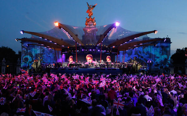 Singer Elton John performs during the Diamond Jubilee concert in front of Buckingham Palace in London.