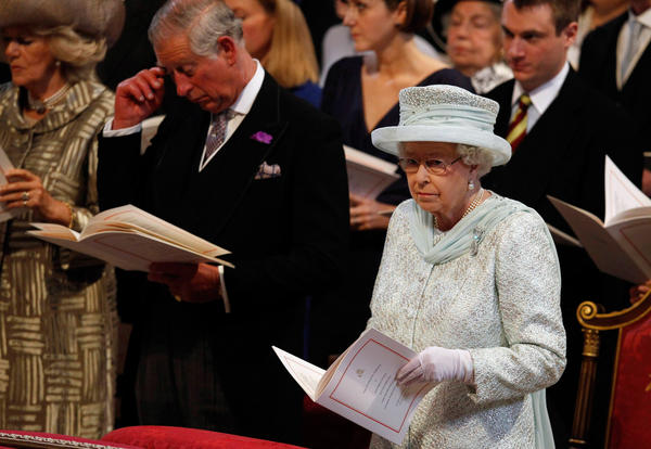 Camilla, left, Prince Charles and Queen Elizabeth II at a service of thanksgiving to mark the monarch's Diamond Jubilee at St. Paul's Cathedral.