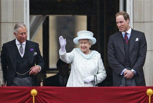 Britain's Queen Elizabeth II, center, accompanied by Prince Charles, left, and Prince William, appear on the balcony of Buckingham Palace in central London, Tuesday, June 5, 2012, to conclude the four-day Diamond Jubilee celebrations to mark the 60th anniversary of the Queen's reign.