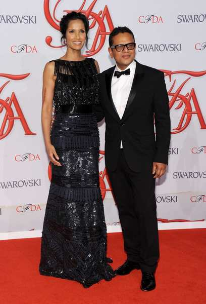 Padma Lakshmi, left, and designer Naeem Khan.