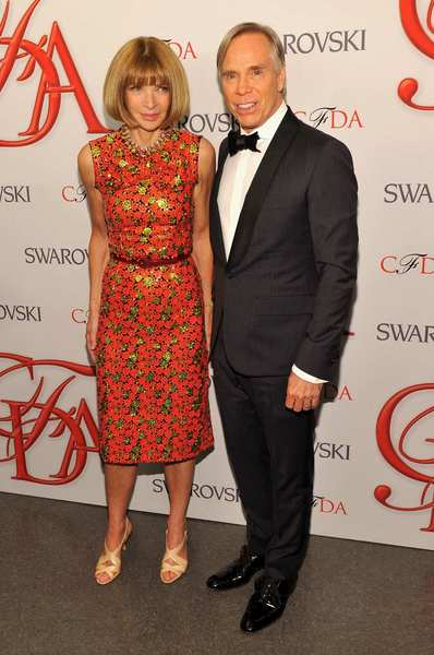 The 2012 CFDA awards red carpet: Vogue editor in chief Anna Wintour and designer Tommy Hilfiger.