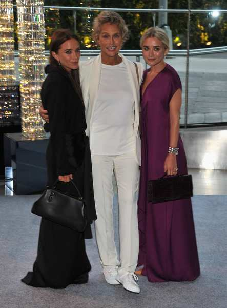Mary-Kate Olsen, left, Lauren Hutton and Ashley Olsen, all dressed in the Row.