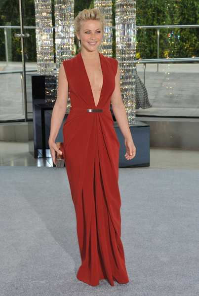 The 2012 CFDA awards red carpet: Actress Julianne Hough in a red stretch crepe gown by Kaufman Franco.