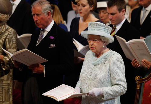 Queen Elizabeth and Prince Charles attend a thanksgiving service to mark her Diamond Jubilee at St Paul's Cathedral in London.