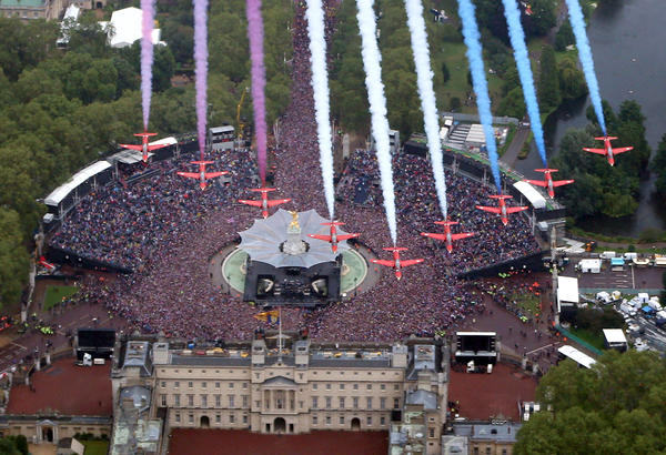The Royal Air Force Aerobatic Team fly in formation over Buckingham Palace as The Royal family stands on the balcony on  in London, England. For only the second time in its history the UK celebrates the Diamond Jubilee of a monarch.