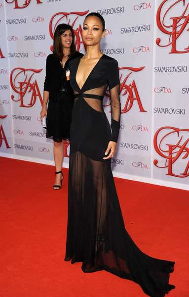 The 2012 CFDA awards red carpet: Zoe Saldana chose a black Prabal Gurung gown.