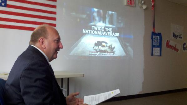 Mayor Ed Pawlowski appeared at the Obama campaign's Allentown office Tuesday to criticize Mitt Romney's jobs record.