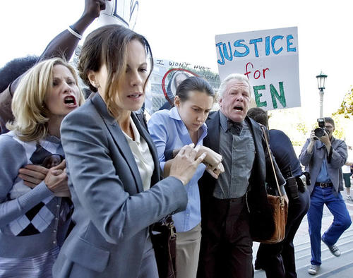 "Actors Kate Beckinsale, front left, Anna Anisimova, front center and Nick Nolte, front right, are screamed at as they enter a courthouse during filming of ""The Trials of Cate McCall"" in front of Pasadena City Hall on Tuesday, June 5, 2012."