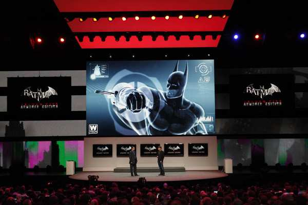 """Batman Arkham City"" is demonstrated at a Nintendo media briefing at the Nokia Theater at LA Live in advance of the E3 convention."
