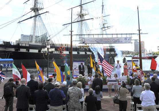The kickoff of the Star-Spangled Sailabration included the presentation of colors by Fort McHenry National Monument & Historic Shrine, the singing of the national anthem by MU1 Jack Sigmon from the US Navy, presentation of the flags from visiting countries and daytime pyrotechnics.