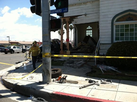 A 106-year-old church in Huntington Beach was damaged after a truck crashed into it Tuesday morning.
