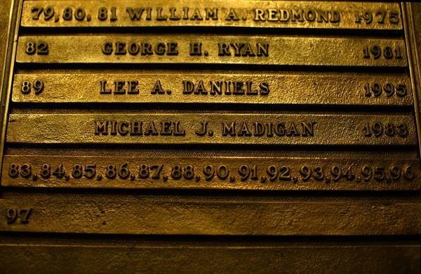 A plaque in the state Capitol in Springfield illustrates Michael Madigan's many years of control. Madigan has held the speaker's position for all but two years since 1983.