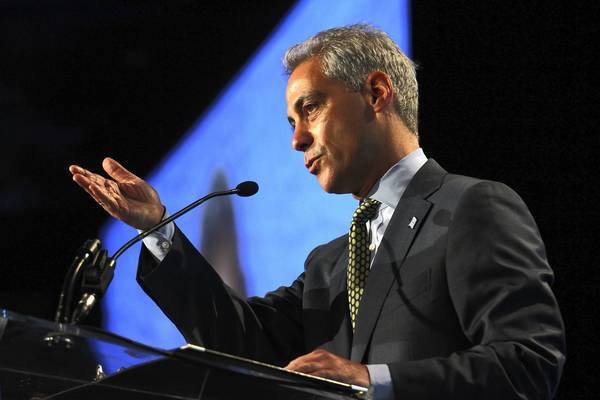 Mayor Rahm Emanuel speaks at the Chicagoland Chamber of Commerce annual meeting Tuesday.